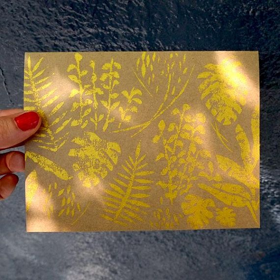 Nature pattern hand printed card from a carved por PrintedWild