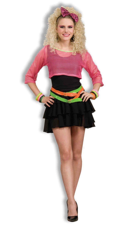 Women's 80's Groupie Costume, Pink/Black, One