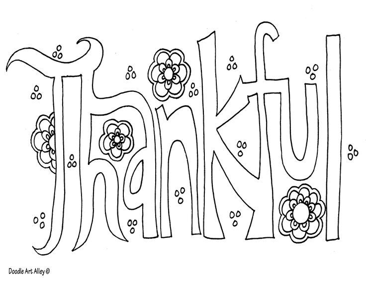 Doodle Art Alley Coloring Page Thankful Word Art Free Doodles