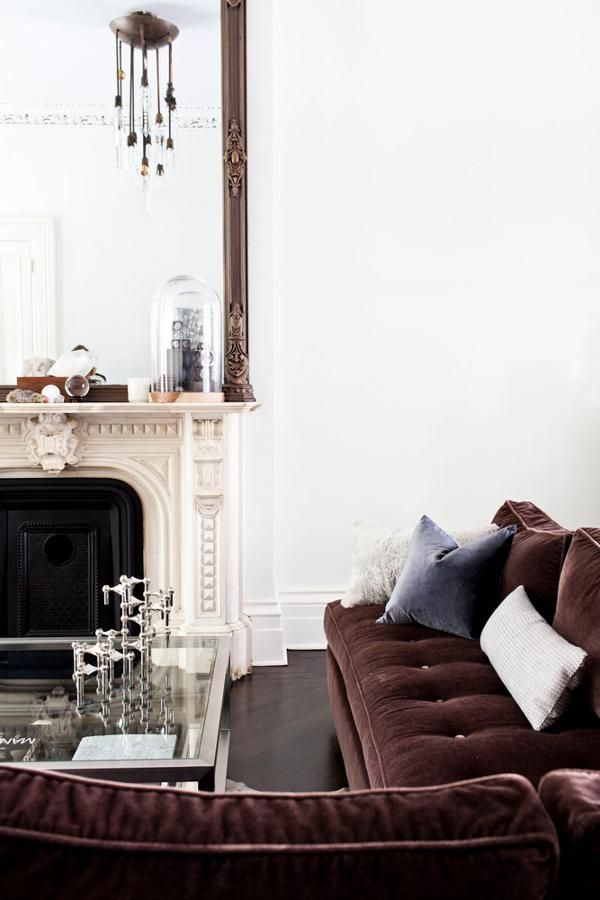 Modern Eclectic Living Room Design With Chocolate Brown Velvet Sofas Ideas Decor