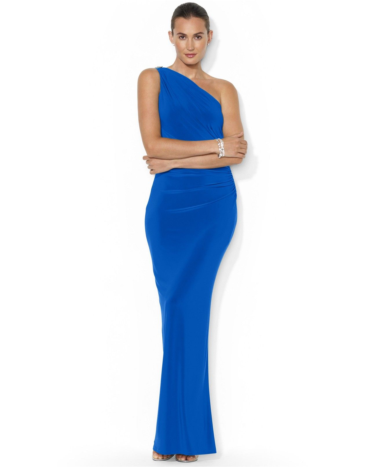 Lauren ralph lauren one shoulder evening gown dresses women lauren ralph lauren one shoulder evening gown dresses women macys ombrellifo Images