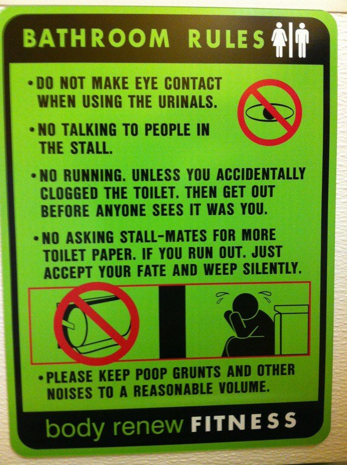 Bathroom rules at the gym. | Funny and more | Pinterest ...