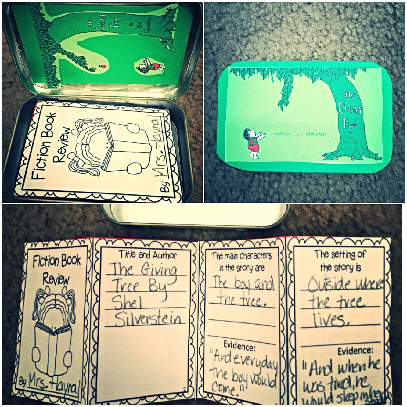 Mint Tin Book Report The Giving Tree With Images