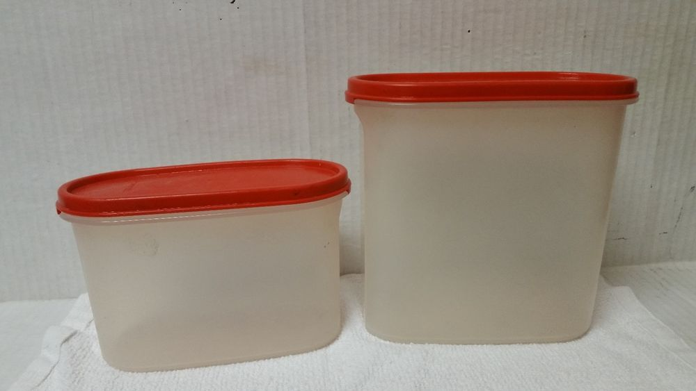 Two Vintage Red Modular Tupperware Containers 7 1 4 Cups And 4 3 4 Cups Tupperware Vintage Kitchen Vintage