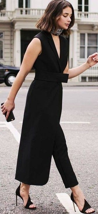 Black Jumpsuit /roressclothes/ closet ideas #women fashion ...