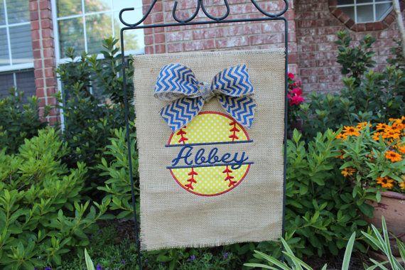 Burlap softball garden flag monogrammed by stephstowell on Etsy
