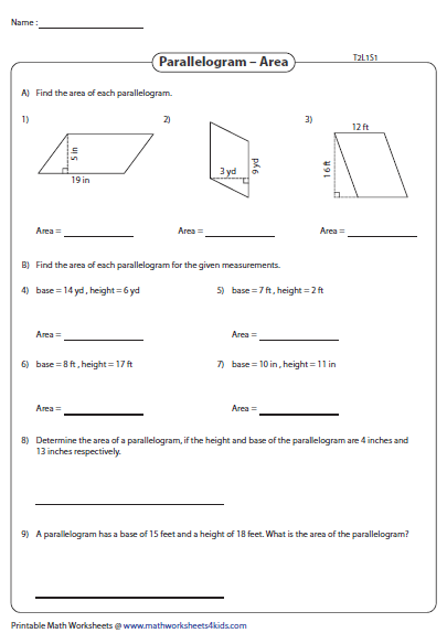 Area Of Parallelograms Integers Type 2 With Images Parallelogram Area Parallelogram Areas