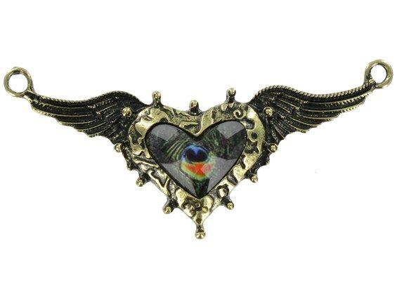 Antique Brass Steampunk Heart  Wings Pendant