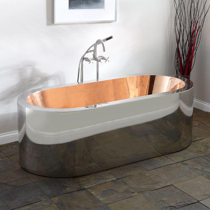 "69"" Loren Polished Stainless Steel Freestanding Tub with Polished Copper Interior"