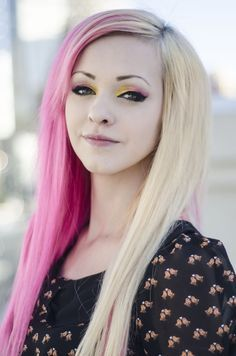 Image Result For Half Pink Half White Hair Pink Blonde Hair Hair Styles Hair
