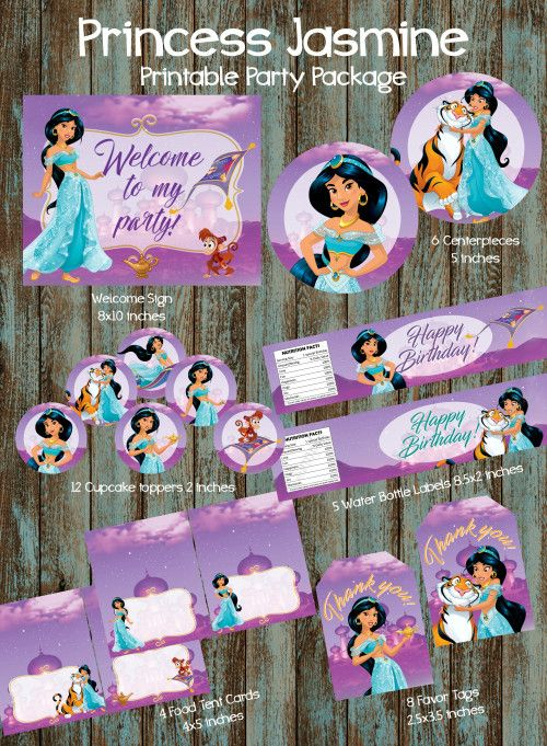 Princess Jasmine Birthday Party Package Jasmie Party Supplies In