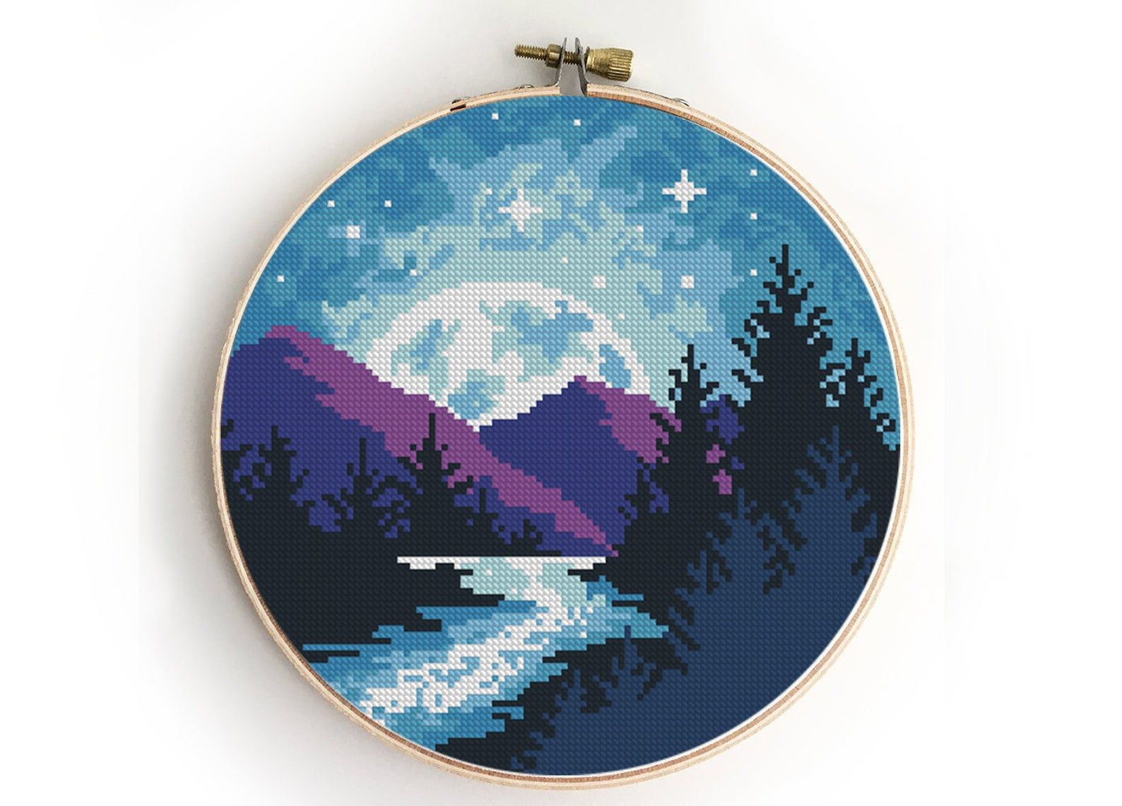 Photo of Landscape cross stitch pattern galaxy trees camping nature modern starry abstact forest wild – Cross Stitch Pattern (Digital Format – PDF)