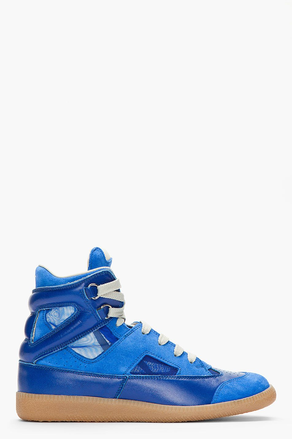MAISON MARTIN MARGIELA Blue suede and leather Mesh Insert Sneakers