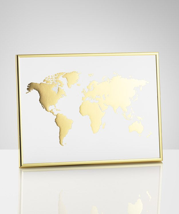 Guldfoliering vrldskarta sovrum pinterest bedrooms poster with world map in gold trendy and cleanly designed print for your goldbrass decor we sell several posters with different gold prints gumiabroncs Gallery