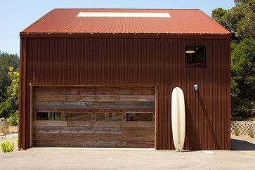 Corrugated Steel Panels in red  Leaning heavily recently