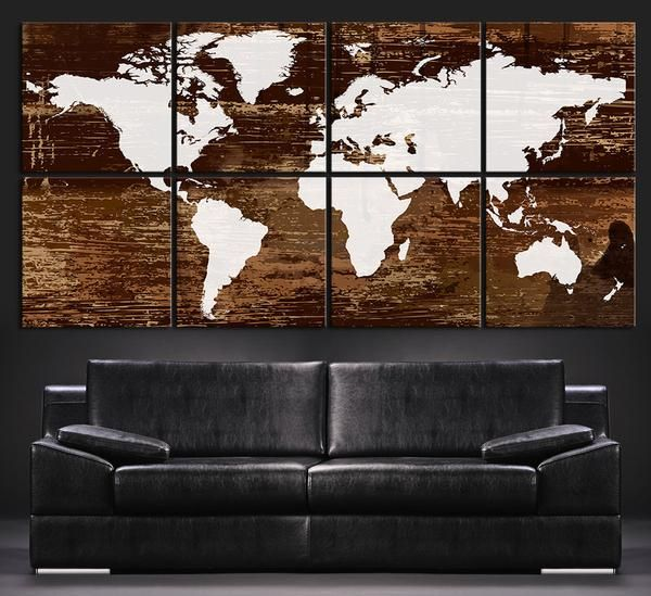 Canvas art print white world map on rustic wood 8 panel vintage ready to hangstretched on deep 3cm framearchival giclee qualityprotective world map gumiabroncs Choice Image