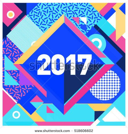 Happy New Year 2017 background Calendar cover template Colorful - greeting card template