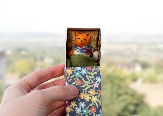 #Tiny #fox in a #floral #matchbox