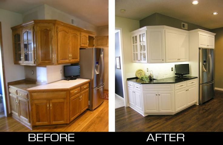Kitchen Cabinet, Before And After Refacing Oak Kitchen Cabinet To ...