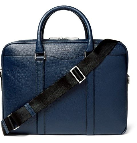 86d855588f Signature Slim Grained Leather Briefcase Blue Leather Briefcase