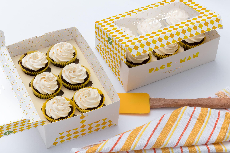 Download Six Cupcake Box Mockup 03 Cupcake Boxes Box Mockup Paper Box