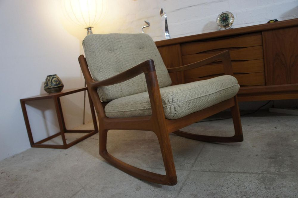 Teak rocking chair schaukelstuhl v ole wanscher france for Schaukelstuhl 50er