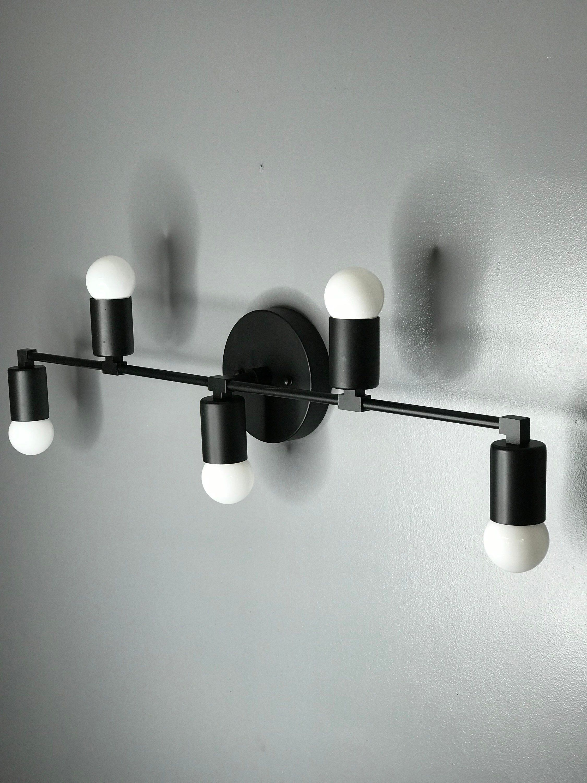 Wall Sconce Matte Black 5 Bulb Vanity Light Fixture Bathroom Lighting Mid Century Modern Fixture Contemporary Lighting Bathroom Light Fixtures Vanity Light Fixtures Sconces