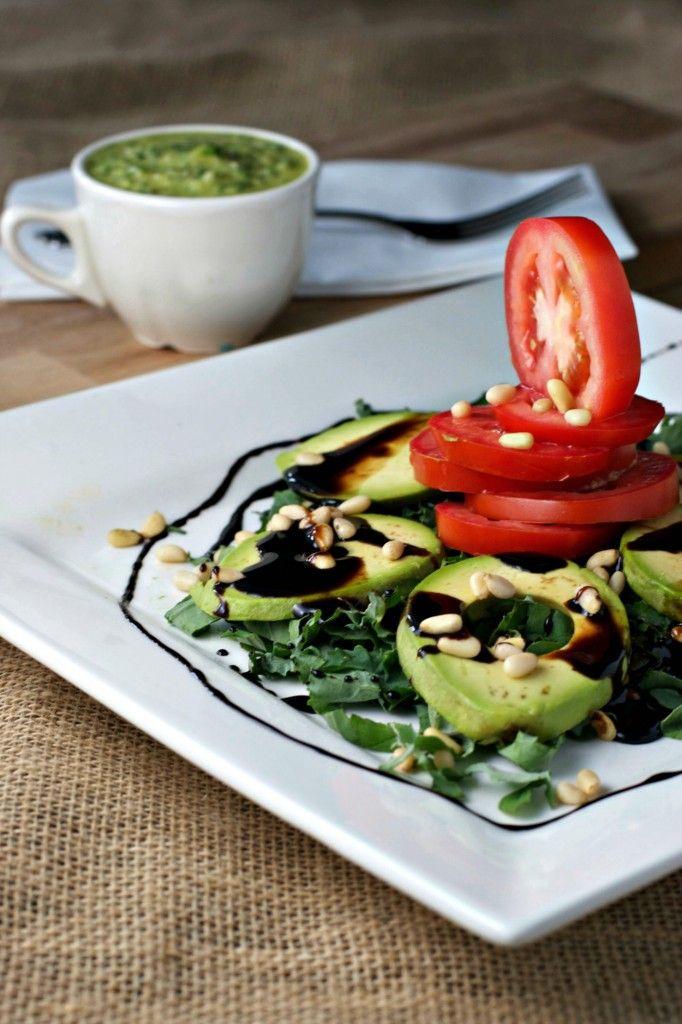 avocado caprese salad with pesto vinaigrette Begin Within Nutrition This caprese salad with pesto v