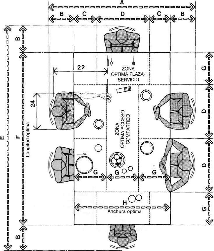 Muebles domoticos medidas para dise ar comedores de seis for Medidas de muebles arquitectura