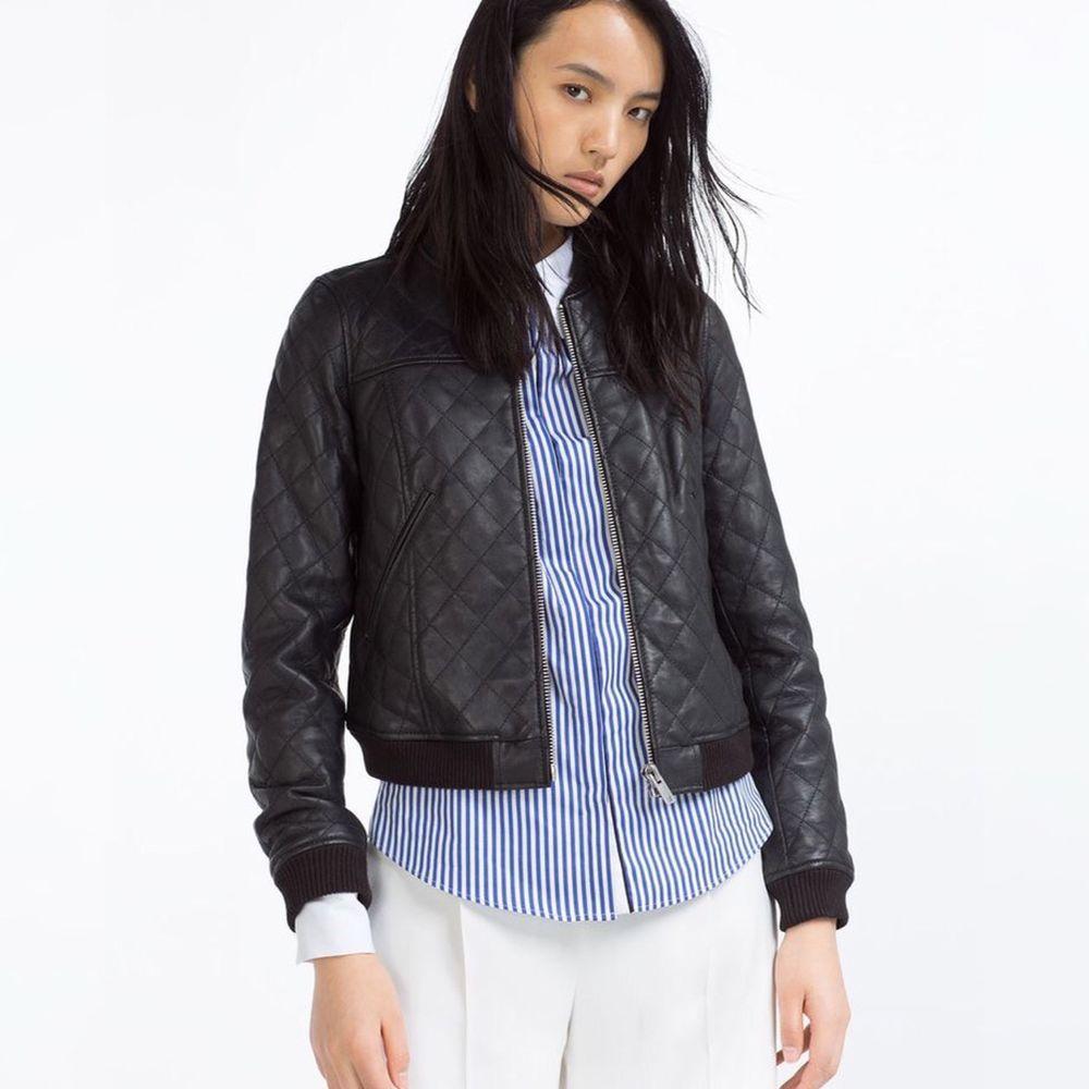 Zara Size Small 100 Sheep Leather Quilted Bomber Moto Black Biker Jacket Euc Zara Leather Jacket Leather Bomber Jacket Summer Coat Women [ 1000 x 1000 Pixel ]