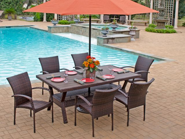 Sierra 7 Pc. Resin Wicker Dining Set With 76 X 42 Rectangular Slat Top  Infinitree Table