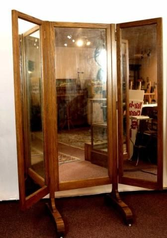 Great Antique Oak Tri Fold Cheval Mirror Old Furniture Country Floor Standing
