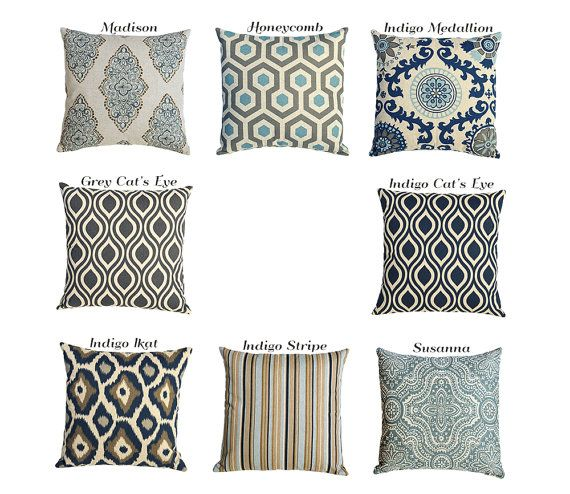 Indigo Blue And Grey On Linen Euro Sham Pillow Cover By