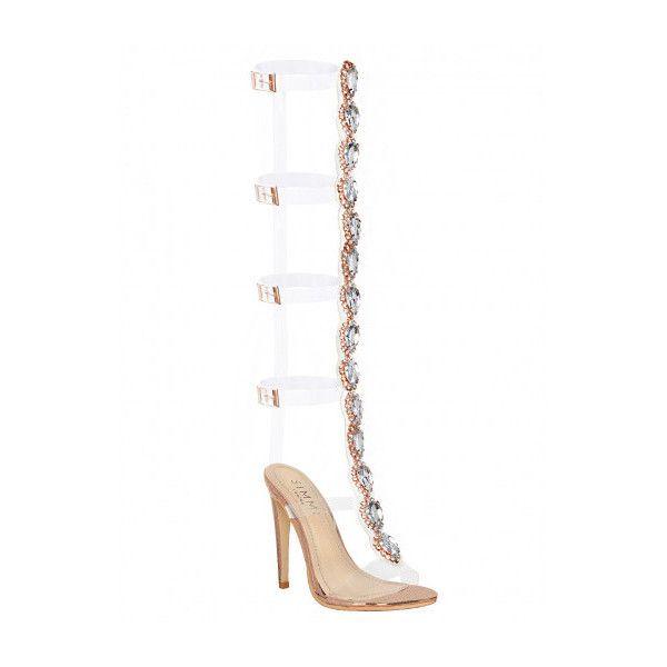 1a7daf3c63dc Colette Rose Gold Snake Gem Clear Knee High Heels   Simmi Shoes ( 66 ...