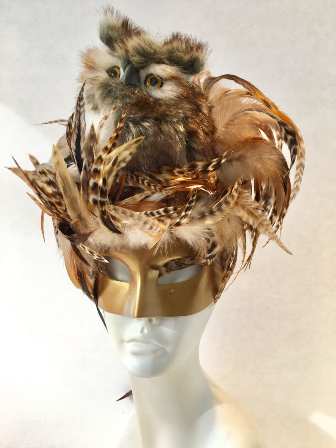Owl Mask- Bird Mask- Mardi Gras Mask- Masquerade Mask- Feather ...