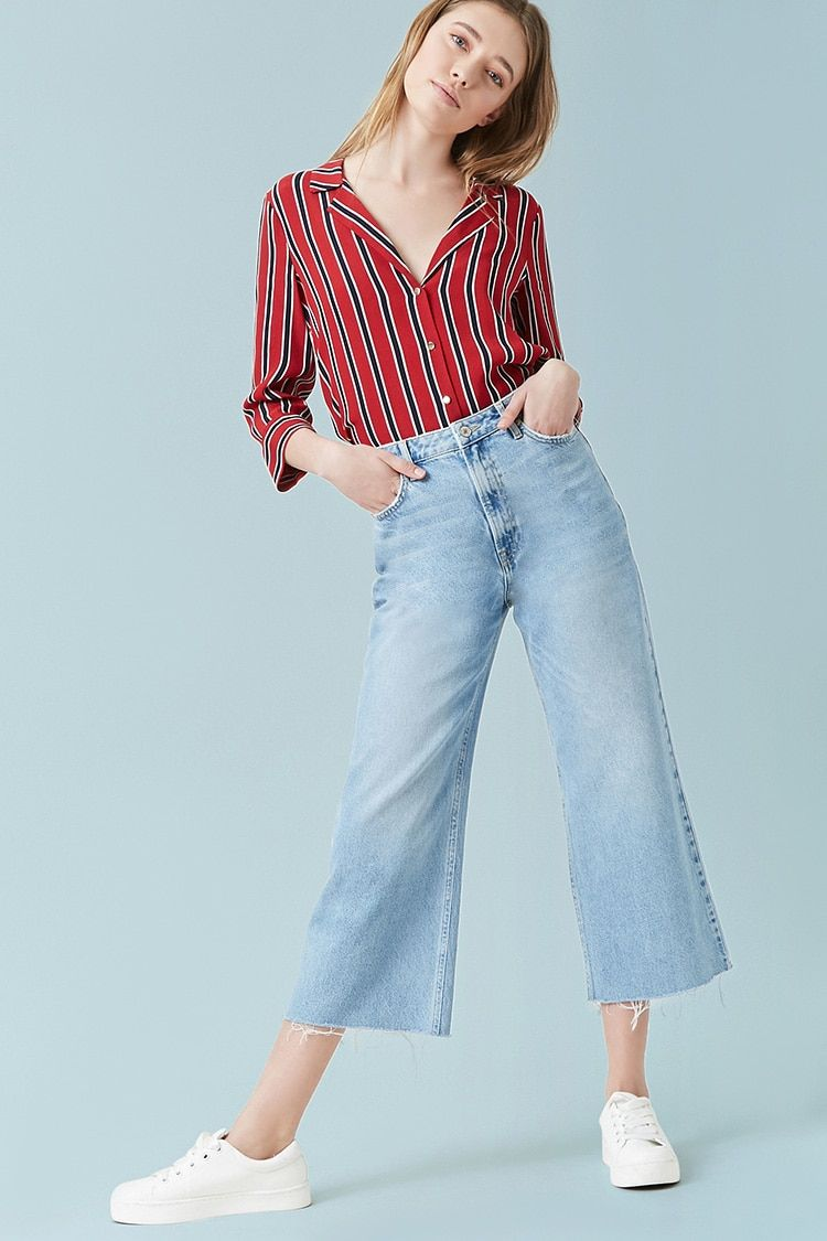 High Rise Wide Crop Jeans Forever21 Ropa Casual Para Mujer Tendencias Ropa Ropa