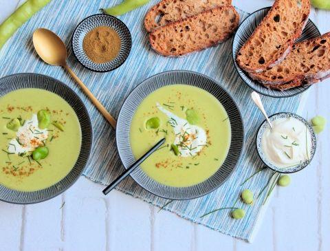 Soupe glacée de fèves fraîches | Recette | Recette entrée facile, Recette, Soupes