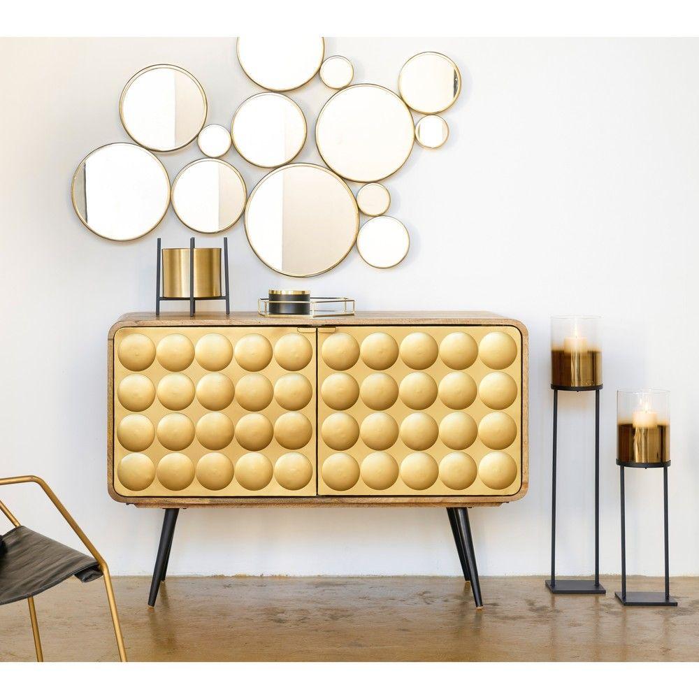 Buffet 2 Portes En Manguier Massif Et Metal Effet Dore Maisons Du Monde Idee Decoration Salon Deco Deco Maison