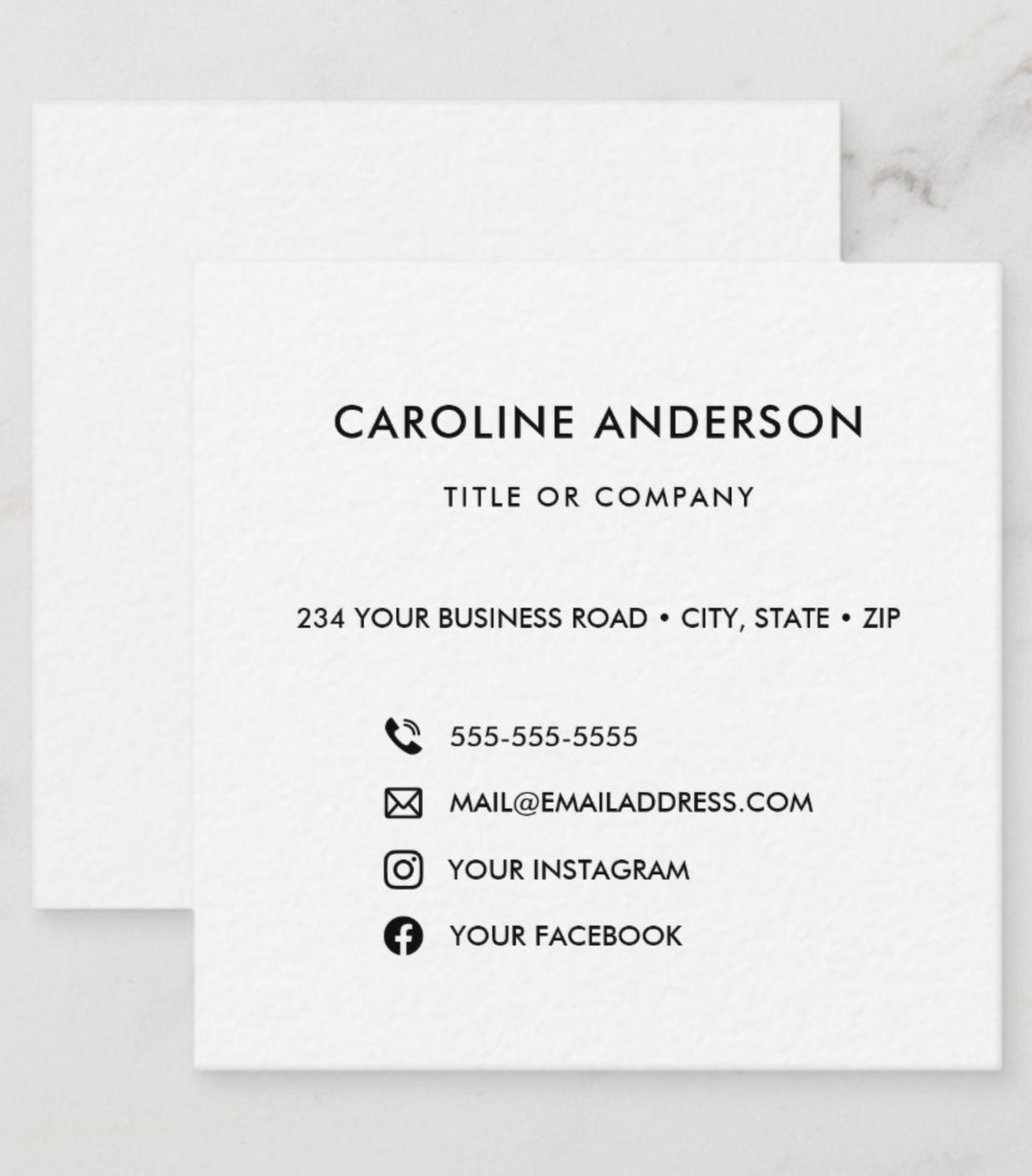 Custom Logo Social Media Icons Networking Square Business Card Zazzle Com Square Business Cards Square Business Card Professional Business Cards