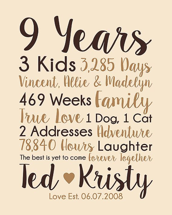 9th Anniversary Gift 9 Years Married Wedding Anniversary Sparky