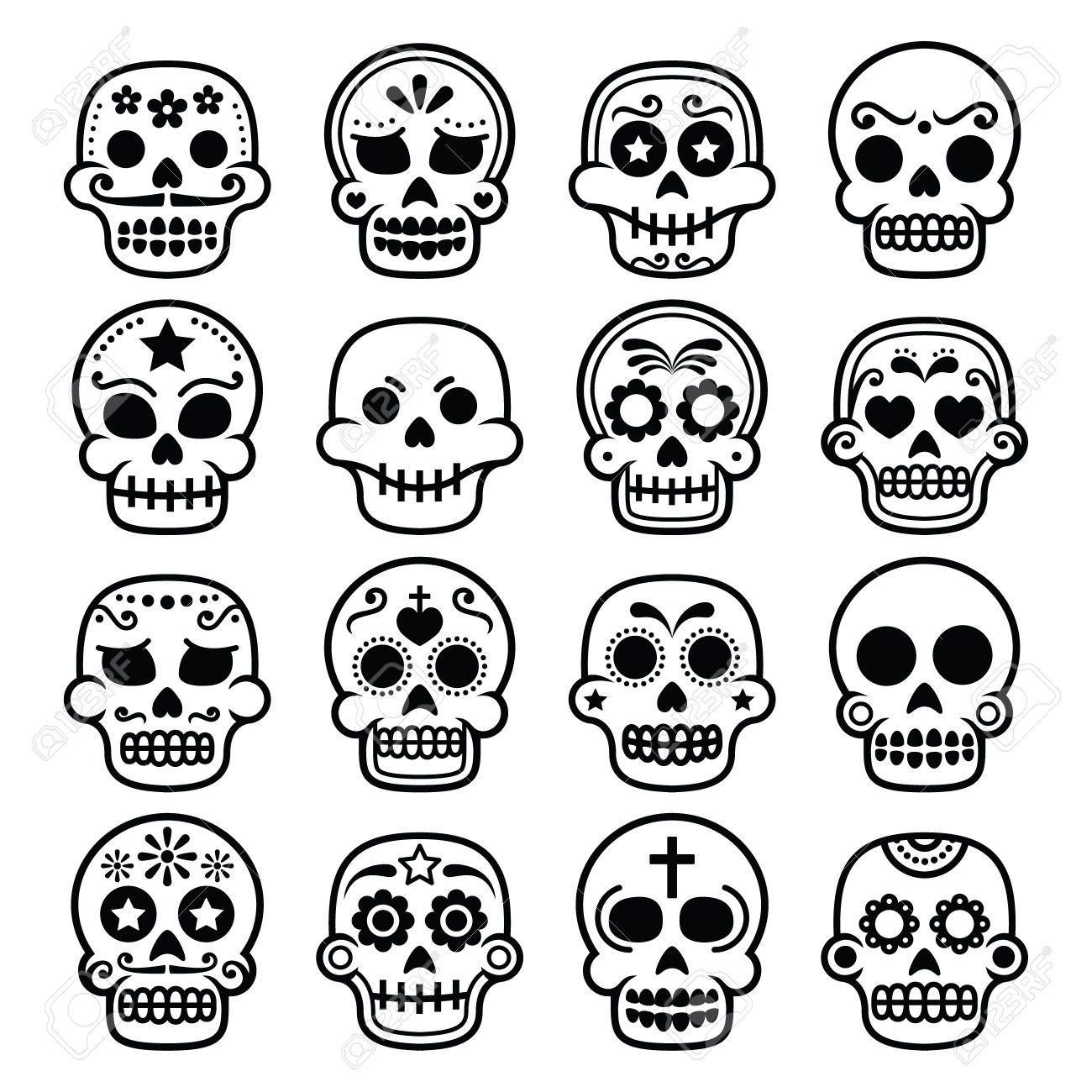 De Halloween, Cráneo Del Azúcar Mexicana, Dia De Los Muertos ...