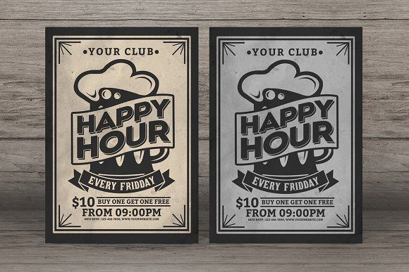 Happy Hour Vintage Flyer @creativework247 | Templates - Templates ...