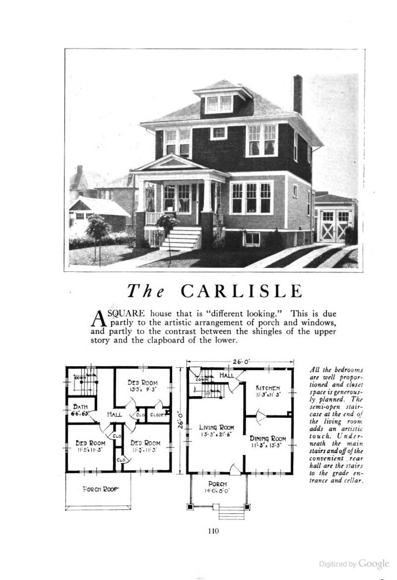 Four Squar House Design Of 1900s: The Carlisle (an American Foursquare Kit House/house Plan