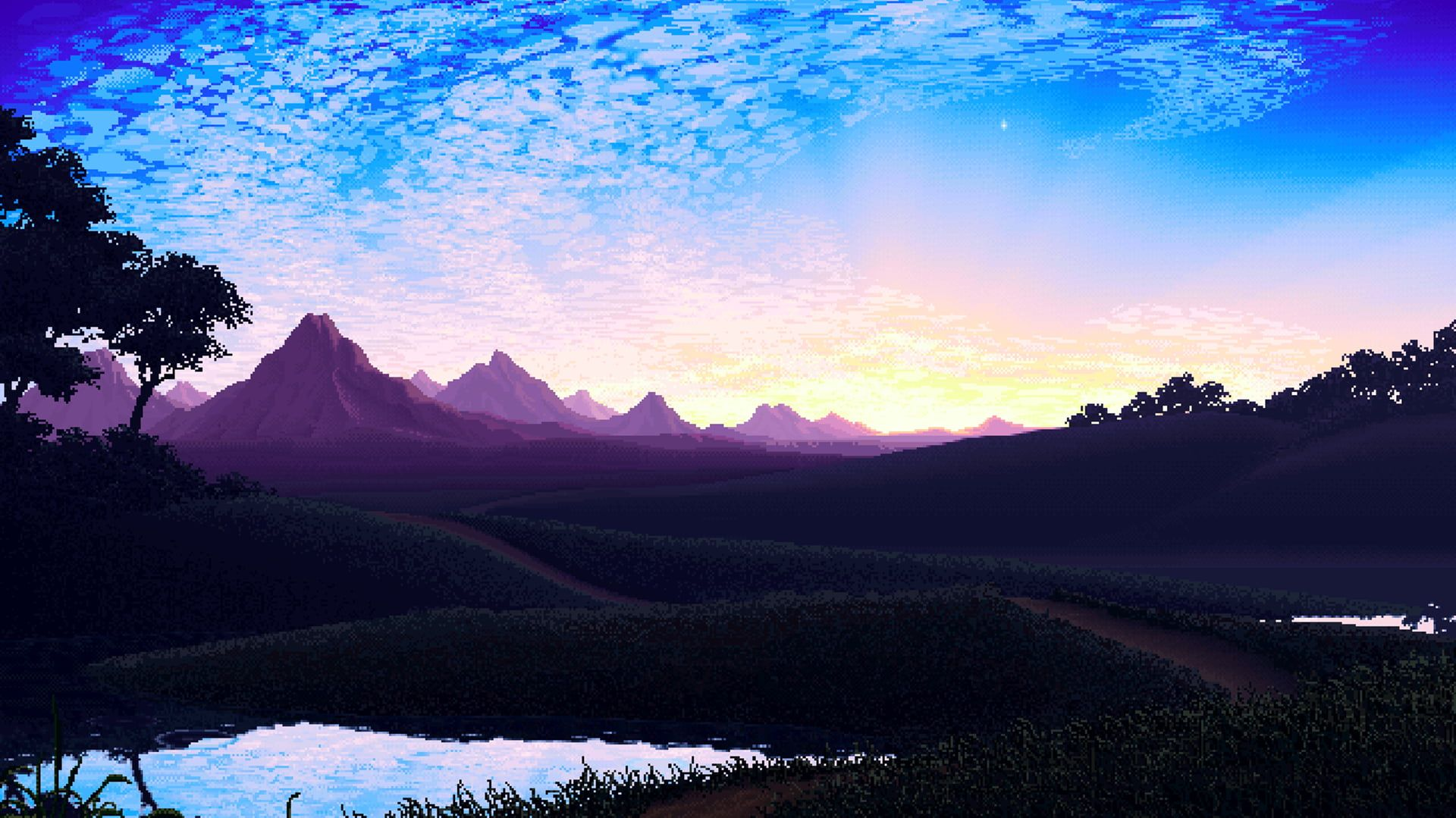 Animated Illustration Of Mountains Nature Pixel Art Pixels Mountains Calm Sky Artwork Landscape Digital Art Sunrise 108 Pixel Art Landscape Pixel City Animated nature wallpaper hd