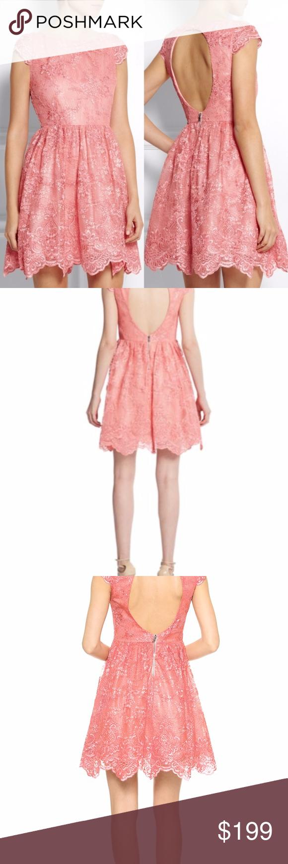 Alice + Olivia Scalloped Lace Open Back Dress