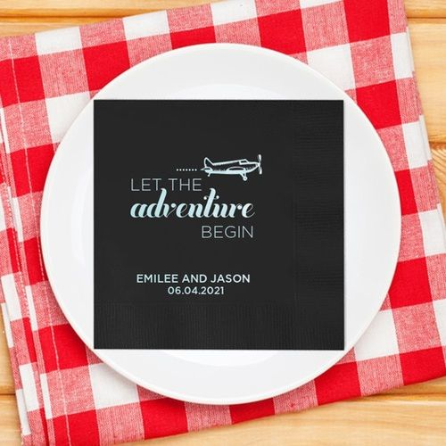 Let The Adventure Begin With Plane Personalized Wedding Napkins Reception