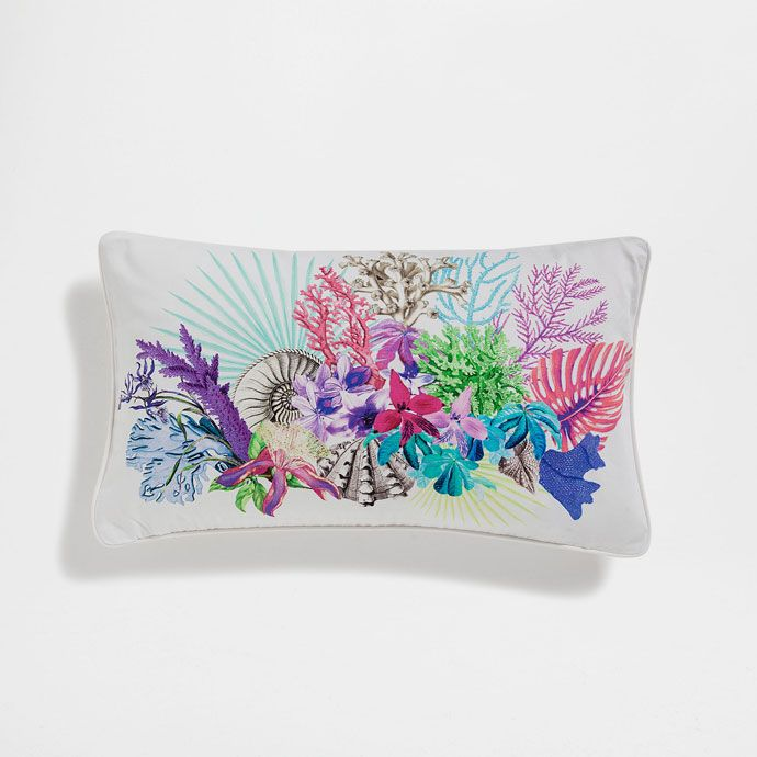 Image of the product Multicoloured coral cotton cushion cover