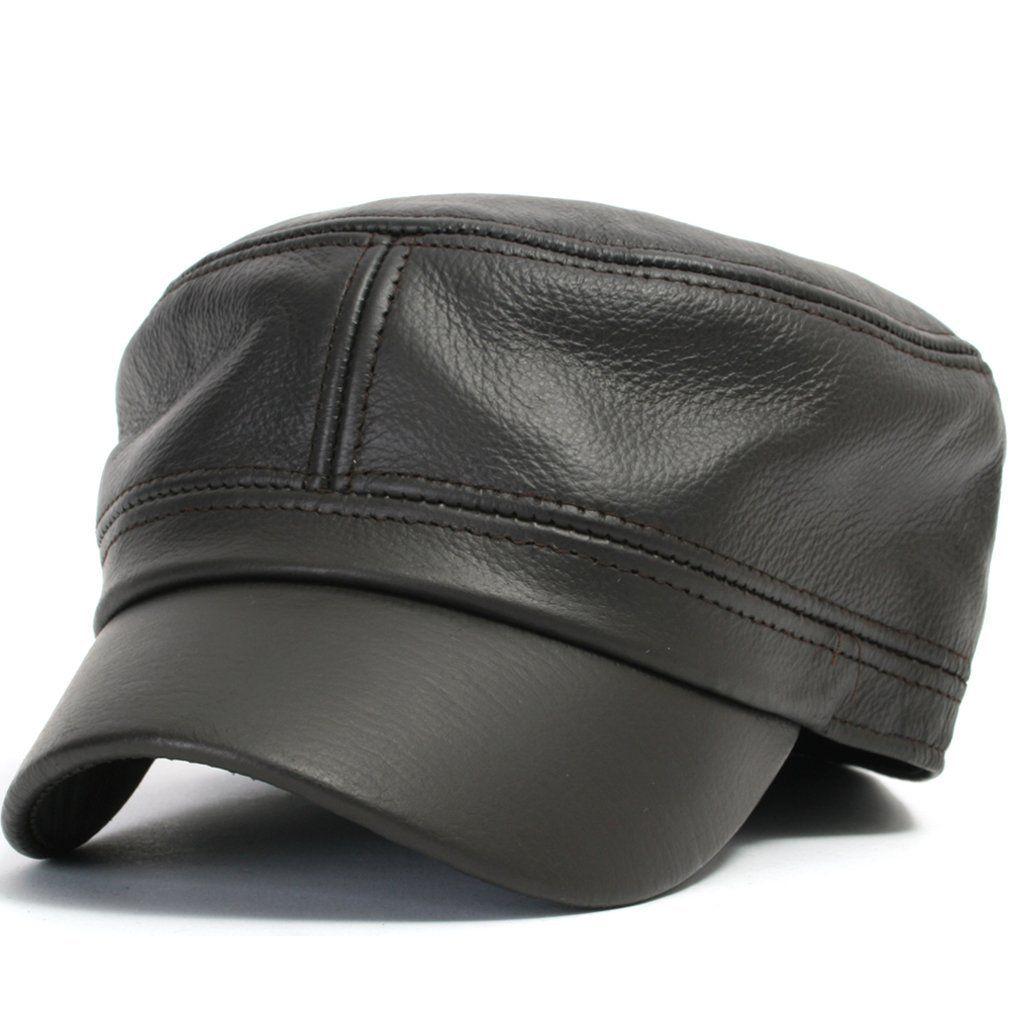 Amazon.com  ililily Vintage Genuine Leather Military Cadet Cap Army Camo style  Hats (cadet-504)  Clothing c397ad658f5