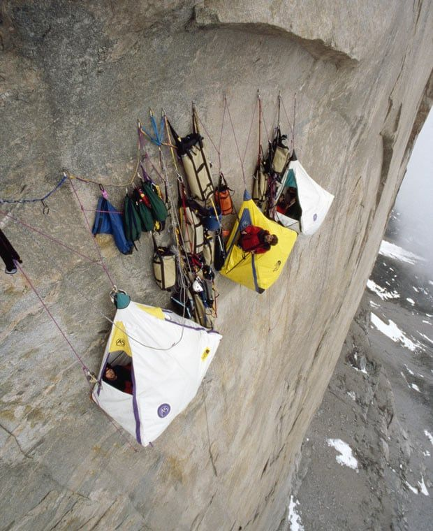 Rock climbing photographer Gordon Wiltsie photographs climbers around the   world camping on some of the most difficult climbs.