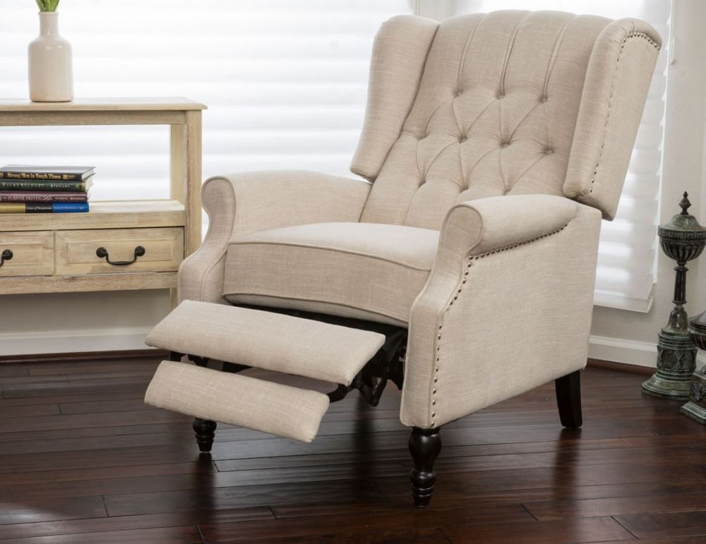 Club Chairs For Living Room Chair Recliner Wingback Tufted Cream
